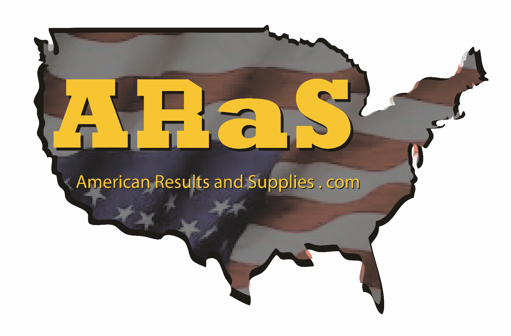 Aras log brown map of the US with the letters ARAS in yellow on top